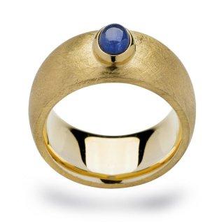 Ring 925/- | Sterlingsilber Blauer Saphir-Doublette in Kombination mit warmen Goldnuancen.
