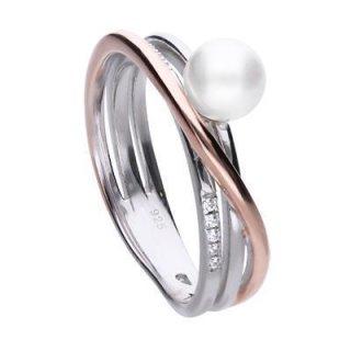 Verspielter Perl-Ring bicolor mit weißer Muschelkernperle und weißen Zirkonia-Steinen