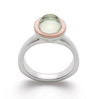 Ring 925/- | Sterlingsilber Pastelliger Grüner Amethyst und rosévergoldete Farbnuancen