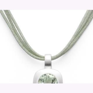 Grünes Baumwollband 3-reihig, 925/- Sterlingsilber