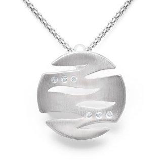 Anhänger 925/-| Sterlingsilber Kleiner Designanhänger mit 6 Diamanten und Kette.