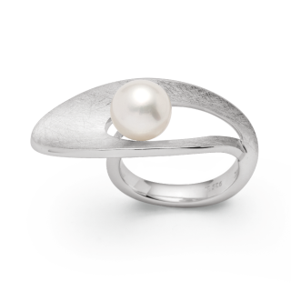 Ring   Sterlingsilber Design-Ring mit raffiniert positionierter Perle