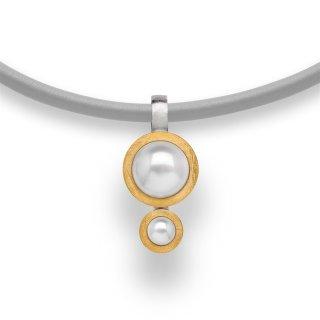 Anhänger | Sterlingsilber Massiv gearbeitetes Designschmuckstück mit opulentem Perlenbesatz