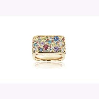 Sif Jacobs Ring in 925/- Silber 18K vergoldet mit bunten Zirkonia.