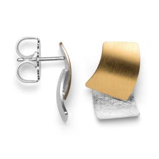 Ohrstecker 925/- Sterlingsilber teilvergoldet mit seidenmatter und kratzmatter Oberfläche.