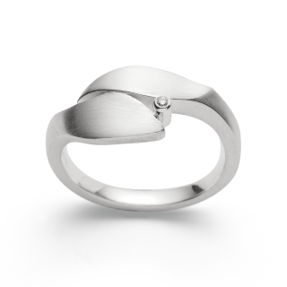 Ring | Sterlingsilber Filigranes Blätterdesign mit Diamant gekrönt