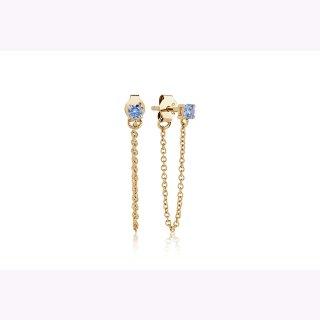 Ohrhänger PRINCESS PICCOLO LUNGO - 18K Gold vergoldet mit blauen Zirkonia