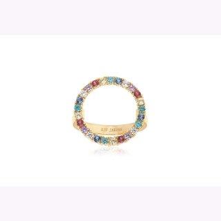 Sif Jacobs Ring 925/- Silber vergoldet mit runden bunten Zirkonia.