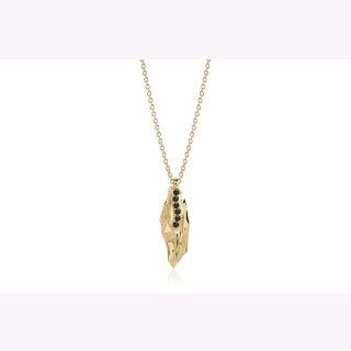Halskette 925/-  VULCANELLO - 18K GOLD vergoldet mit schwarzen Zirkonia