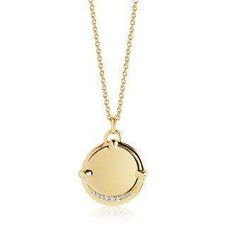 Halskette 925/-  PORTOFINO GRANDE - 18K GOLD vergoldet mit weißen Zirkonia