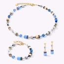 COEUR DE LION GeoCUBE® Halskette blau-gold