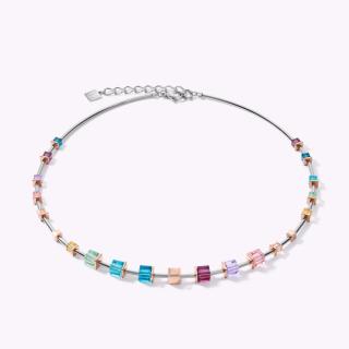 COEUR DE LION Halskette GeoCUBE® Swarovski® Kristalle & Edelstahl roségold-silber multicolor Art Nouveau