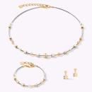 COEUR DE LION Ohrhänger GeoCUBE® small Edelstahl & Kristall Pavé weiß-gold-silber
