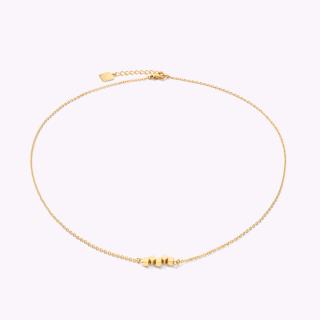 COEUR DE LION Halskette Dancing GeoCUBE® small Edelstahl gold