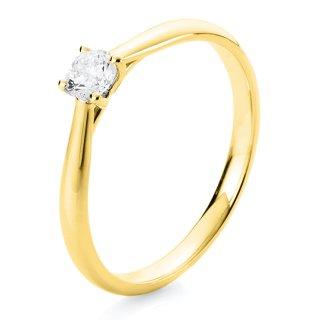585/- Gelbgold Solitaire-Ring poliert mit facettiertem Brillant 0,25ct TW/si, Weite 55