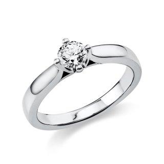 585/- Weißgold Solitaire-Ring poliert mit facettiertem Brillant 0,50ct TW/si, Weite 54