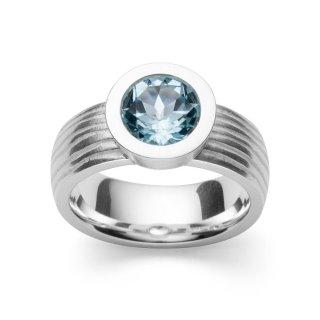 Ring 925/- Sterlingsilber, Designring mit besonderer Ringschiene und funkelndem Blautopas 2,13ct, Weite 58