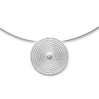 Anhänger 925/- Sterlingsilber mit Diamant 0,03ct W-si, mattiert, gebürstet. The Round n Round Collection.