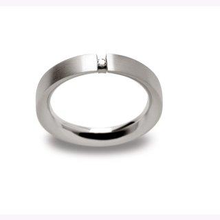 Puristischer Ring 925/- Sterlingsilber mit leuchtendem Diamanten 0,02ct W-si, Weite 54.