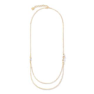 Halskette GeoCUBE® Cluster double chain long Edelstahl gold