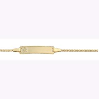 """Id-Armband Gold 333/GG, Flachpanzer 14cm mit Amor Prägung auf der Vorderseite, Rückseite Schrift """"Gott schütze Dich"""""""