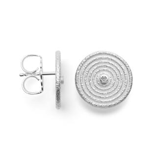 Ohrstecker 925/- Sterlingsilber in Ringoptik, mittig mit einem Diamant.
