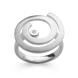 """Ring 925/- Sterlingsilber mit Diamant , Oberfläche mattiert und poliert.Statement-Ring aus der Kollektion """"Magic Star""""."""