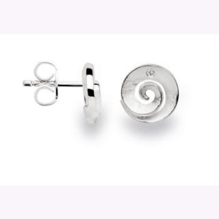 Ohrstecker 925/- Sterlingsilber.Filigrane Diamant-Schnecke aus mattiertem Silber.