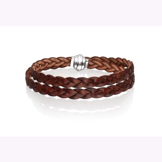 Geflochtenes braunes Lederband mit Magneschließe. Tragbar als Armband oder als kurze Kette.