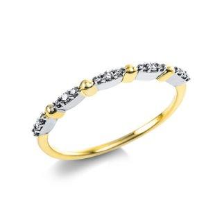 Zarter Diamantring in 585/- Gelbgold und Weißgold.